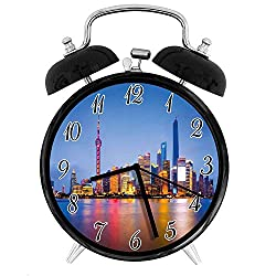 22yiihannz Stylish Modern Alarm Clock-3.8inch,City Skyline of Shanghai China on Huangpu River Dusk Famous Travel Destination-No Ticking,Soft Night Light,Good Gift for Decorating The Room