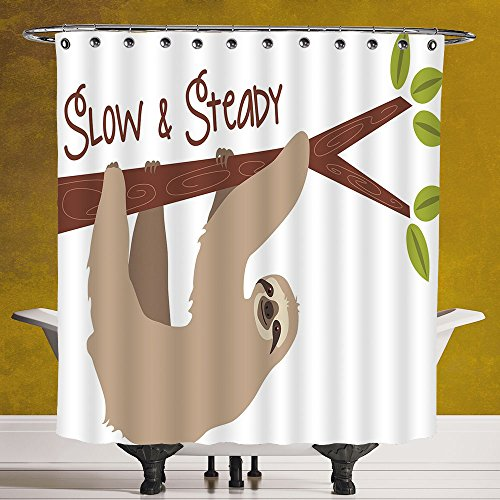 Waterproof Shower Curtain 3.0 by SCOCICI [ Sloth,Cartoon Style Australian Wildlife Mammal on Tree Branch Slow and Steady Phrase Decorative,Tan Chesnut Brown ] Polyester Fabric Bathroom Shower Curtain by SCOCICI