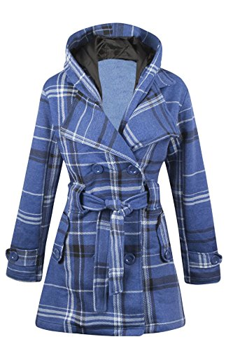 New Womens Hooded Belted Fleece Button Coat Ladies Check Hood Jacket Size 8-16 DENIM CHECK UK 10 US (Belted Denim Coat)