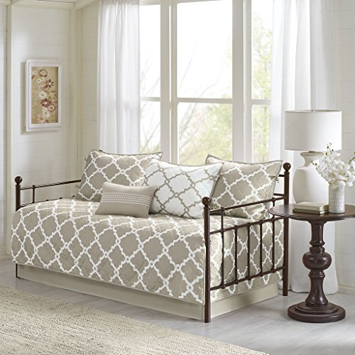 Madison Park Essentials Merritt Daybed Size Quilt Bedding Set – Taupe, Geometric – 6 Piece Bedding Quilt Coverlets – Ultra Soft Microfiber Bed Quilts Quilted Coverlet