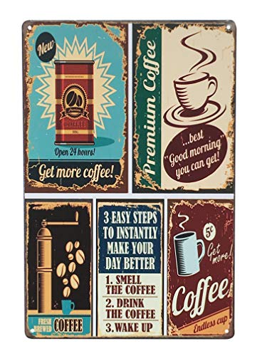 UNIQUELOVER Premium Coffee Metal Tin Sign, Vintage Style Wall Ornament Coffee & Bar Decor,Size 8 x12 Inches