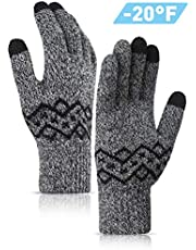 TRENDOUX Winter Gloves for Women Knit Touch Screen Glove Texting Smartphone Driving - Anti-Slip - Elastic Cuff - Thermal Soft Wool Lining - Hands Warm in Cold Weather