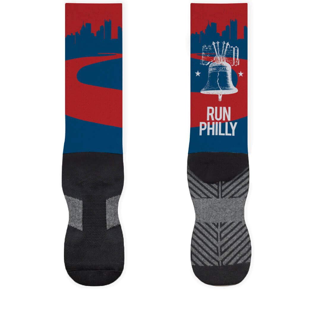 Philadelphia Skyline Printed Mid Calf Socks | Running Socks by Gone For A Run |複数のサイズ S ブルー B01A7BQCYE