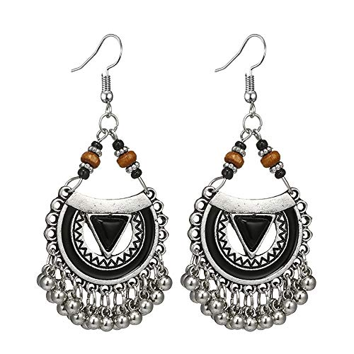 Women Retro Cutout Semicircular Turquoise Carved Road Beaded Long Bell Earrings ()