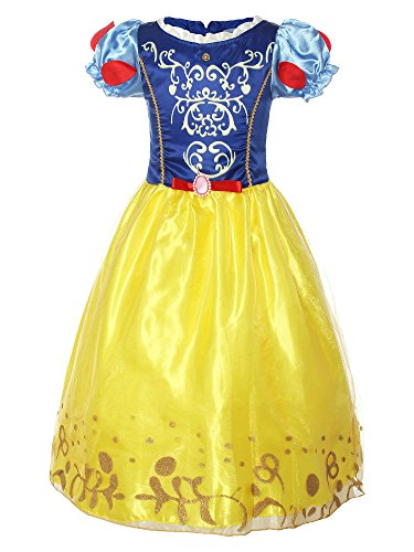 ReliBeauty Girls Puff Sleeve Fancy Dress Princess Snow White Costume, Royal&Yellow, 6-6X/130 -