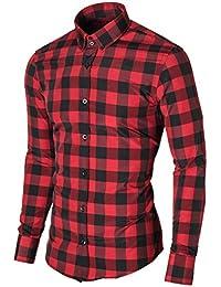 Mens Check Dress Shirt Slim Fit Casual Button Down Long Sleeve Checkered Shirt (MOD1803LS)