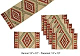 Fine Southwest Design - Jacquard Table Runner Set with 6 Matching Placemats