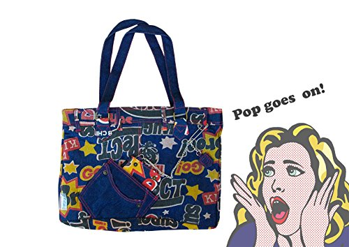 Borsa shopping bag 38 x30 x 10 cm mod. MAGAZINE in stile pop denim con tre vani interni. MEDIA WAVE store