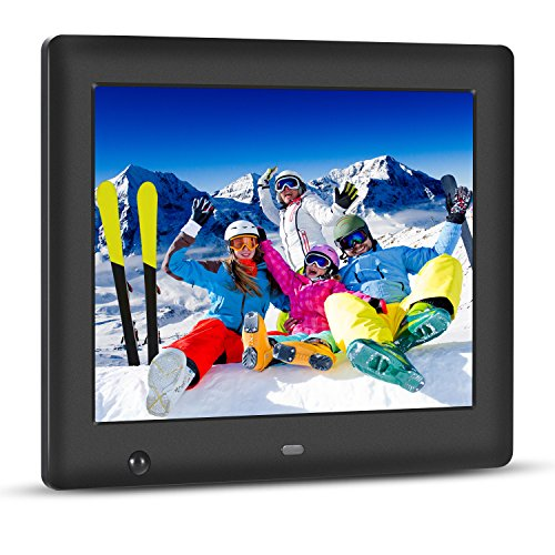 - Apzka 8-Inch HD Digital Photo Frame with Motion Sensor, MP3 Photo Video & Music Playback, Calendar with 2GB Internal Memory & Remote Control (Black),