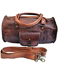 Jaald 18 Genuine Leather Mens Duffle Gym Bag Sports Weekend Bag Carry on Bag