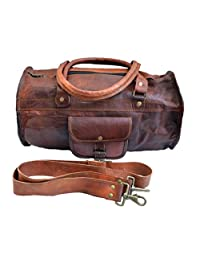 "Jaald 18"" Genuine Leather Mens Duffle Bag sports bag carry on bag for small trip"