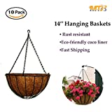 MTB Garden Hanging Baskets 14'' Traditional Style with Coco-liner, Pack of 10 / $8.00 each (Also Sold as Pack of 2)