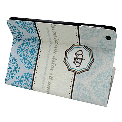 Fraelc Baby Blue Closure PU Leather Case Flip Cover for ipad Mini & Mini 2 New ipad mini 7.9 Inch Book Shell Stand Big Flower Blossom Polygon Imperial Crown Protective Skin Shell Folio Case with Auto Wake-up / Sleep Smart Feature