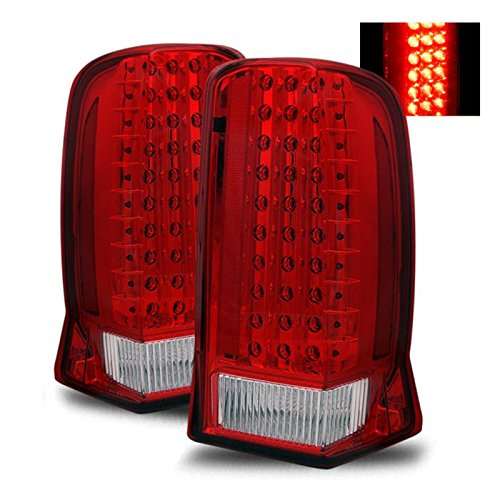 SPPC Red/Clear LED Tail Lights Assembly Set For Cadillac Escalade - (Pair) Driver Left and Passenger Right Side Replacement Headlamp