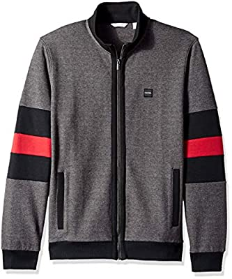 Calvin Klein Men's Lightweight Zip Up Weekend Layered Sweater, Gunmetal Heather Combo, Small