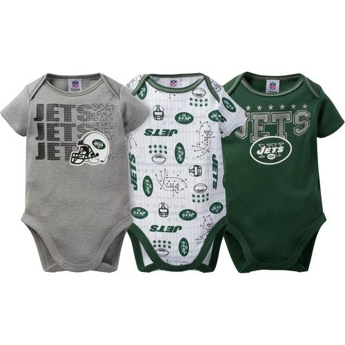 Gerber Childrenswear NFL New York Jets Boys Short Sleeve Bodysuit (3 Pack), 3-6 Months, Green
