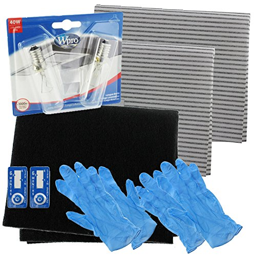 Spares2go Universal Cooker Hood Carbon Grease Filter + E14 SES 40W Light Bulbs Complete Kit For Kitchen Extractor Fan Vent