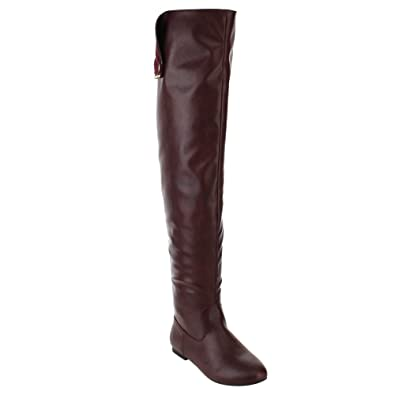 ShoBeautiful Women Over The Knee Flat Boots Snap Cuff Back Zipper Fashion  Long Boots Wine 5.5 3a4956865f