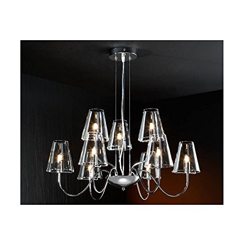 Schuller Spain 692514I4L Modern Chrome Ceiling Chandelier shade pendant light 9 Light Dining Room, Living Room LED | ideas4lighting by Schuller