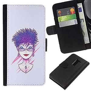 KLONGSHOP // Tirón de la caja Cartera de cuero con ranuras para tarjetas - Púrpura pelo de la mujer - LG G2 D800 //