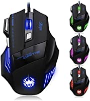 [ T80 New Version] DLAND ZELOTES Professional LED Optical 7200 DPI 7 Button USB Wired Gaming Mouse Mice for gamer Adjustable DPI Switch Function 7200DPI/3200DPI/2400 DPI /1600 DPI /1000 DPI For Pro Game Notebook PC Laptop Computer