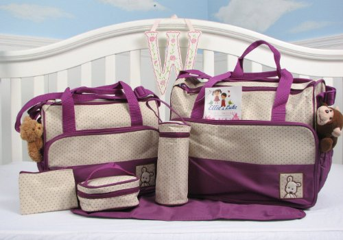 SoHo diaper bag Lavender 8 pieces set nappy tote bag large capacity for baby mom dad stylish insulated unisex multifuncation waterproof includes changing pad stroller - Diaper Bag Piece 8