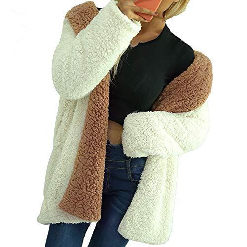 Chaqueta para Mujer,ZARLLE Parka cálida chaqueta mujer con capucha de piel sintética mujeres manga larga casual rebecas Tops Outwear Capa Cremallera Sudadera con Capucha Jacket Sportswear Marrónb