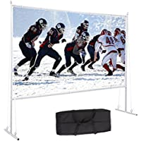 Varmax Outdoor Projector Screen with Stand 120 inch 16:9, Home Movie Screen with Foldable PVC Fabric and Transportable Full Set Bag for Backyard Outdoor Movie Camping