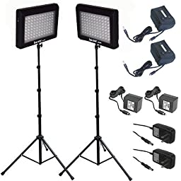 Bescor 190W Combined Dual LED Studio Lighting & Battery Kit, Includes 2x LED-95DK2 LED Light, 2x Light Stand, 2x External Battery with Charger