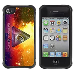 Hybrid Anti-Shock Defend Case for Apple iPhone 4 4S / Hipster Galaxy Sloth
