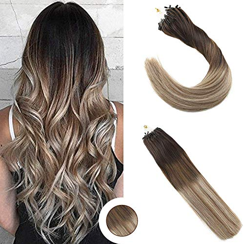 Ugeat 14Inch Remy Real Human Hair Brazilian Micro Loop Hair Extensions Dark Brown Ombre Medium Brown Mix Bleach Blonde Full Head Micro Loop Hair Extensions