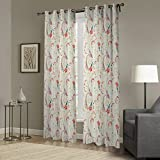 IYUEGO Simple Elegant Pattern Print Floral Grommet Top Lined Blackout Curtain Drapery With Multi Size Custom 84″ W x 84″ L (One Panel) Review