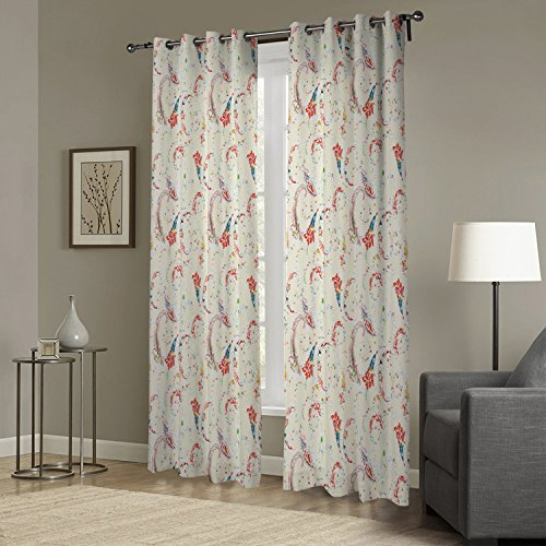 IYUEGO Simple Elegant Pattern Print Floral Grommet Top Lined Blackout Curtain Drapery with Multi Size Custom 42