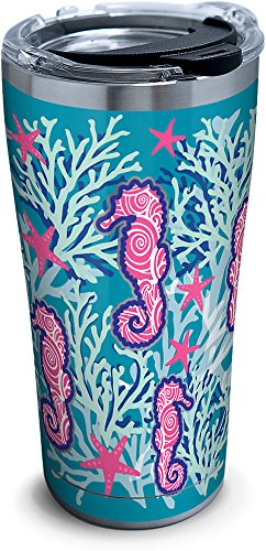 Tervis 1261331 Seahorse & Starfish Pattern Stainless Steel Tumbler with Clear and Black Hammer Lid 20oz, Silver