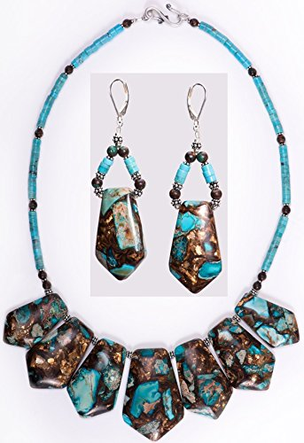 Kingman Turquoise and Bronze Pendant Necklace and Earrings Set by Dansker Designs Jewelry