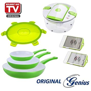 Zócalo Original Genius DIS1 Cerafit Style Sartenes, Set 8tlg. verde incl. Ensalada Chef cortar dispositivo nuevo: Amazon.es: Hogar