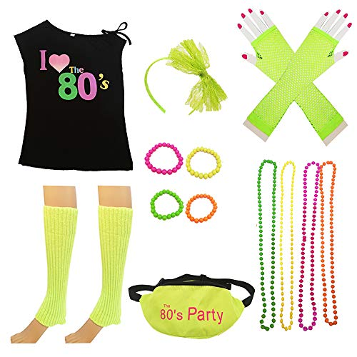 80s Costume Women and Accessories Set Fanny Pack Necklace Bangle Headband Leg(S, ()