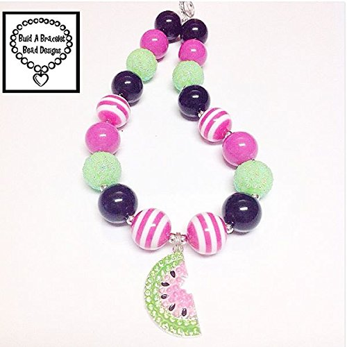 (Baby, Toddler, Girls Bubblegum Chunky Necklace Sweet Watermelon Black Hot Pink Striped Lime Rhinestone Jewelry Accessory By)