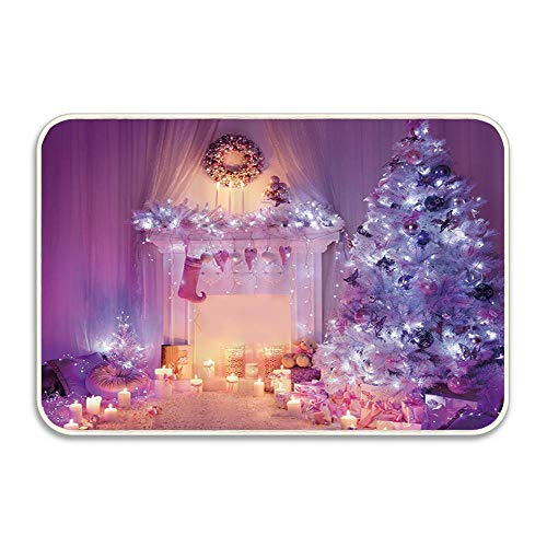 Carl McIsaacDoor Xmas Tree and Fireplace Full with Lights and Sock Doormat Perfect Color Sizing for Outdoor/Indoor Uses 16 X 24 Inch (Carl Fireplace)