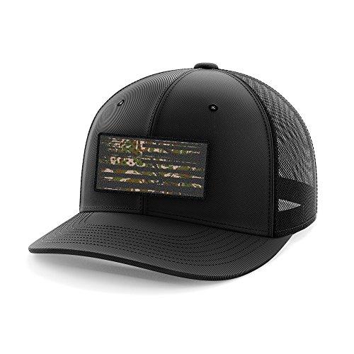 Camo American Military Flag Flexfit Hat (S/M) ()