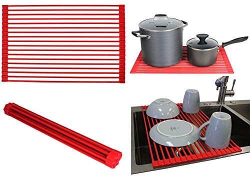 Ariel Over the Sink / Countertop Multipurpose Roll-Up Dish Drying Rack (Red) - Silicone Coated Stainless Steel - Flat Stripe Design - Dishwasher Safe, Heat Resistant, Trivet, Colander, Food Defrost