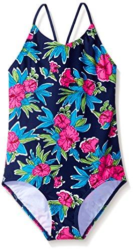 (Kanu Surf Big Girls' Daisy Beach Sport 1-Piece Swimsuit, Krista Floral Navy, 12 )