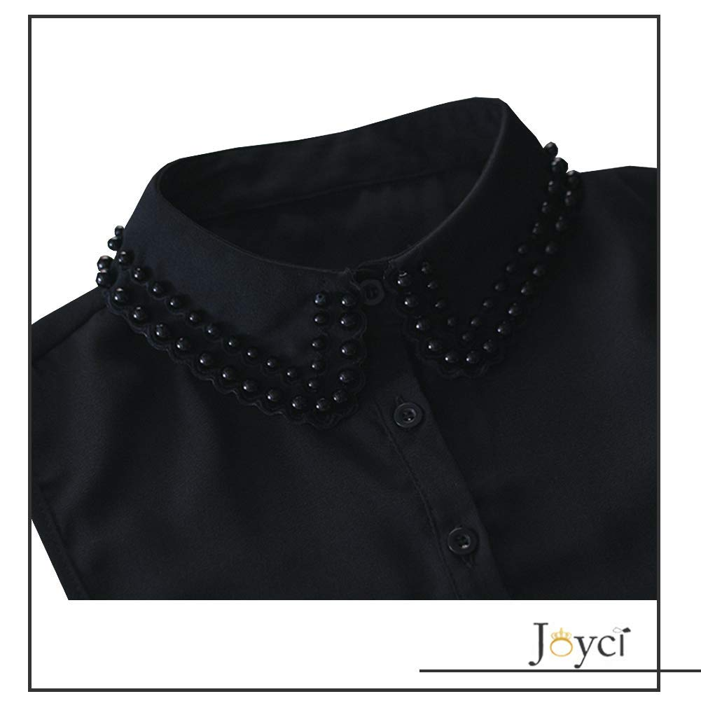 10fa3c511 Joyci Diamond Pearl False Collar Peterpan Fake Collar Half Shirt Dickey (B  Black) at Amazon Women s Clothing store