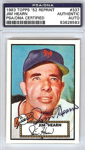 Jim Hearn Signed 1952 Topps Reprint Trading Card #337 New York Giants - PSA/DNA Authentication - Autographed MLB Baseball Cards from Sports Collectibles Online