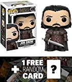 Funko Jon Snow POP! x Game of Thrones Vinyl Figure + 1 Free Official Game of Thrones Trading Card Bundle (12215)