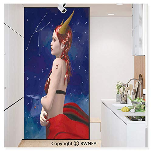 RWN Film Window Films Privacy Glass Sticker Taurus Girl with Horns Maleficent Zodiac Stars Venus Beauty Graphic Design Static Decorative Heat Control Anti UV 30In by 59.8In,Navy Red Brown -