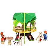 Deluxe Wooden Treehouse Playset Tree House with 2 Dolls Furniture Educational Toys for Kids