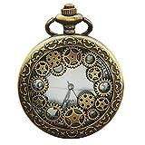 haixclvyE Retro Pocket Watch Antique Pendant Arabic Numbers Quartz Pocket Watchg Gift for Dad Bronze