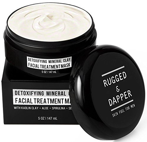 NEW Detoxifying Mineral Clay Facial Treatment Mask For Men- 5 OZ - Combats Acne Blackheads Excess Oil & The Effects Of Aging By Extracting Toxic Impurities - Natural & Certified Organic Ingredients - Zero Risk 100% Satisfaction  Effectiveness Guarantee