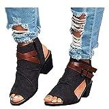 Kinrui Women Shoes Womens Open Toe Ankle Strap Cutout Buckle Side Zipper Stacked Heel Sandals Platform Booties (Black, US:8.5)